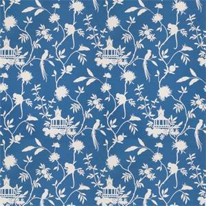 03508-VY Blue Toile Drapery Fabric by Trend Fabrics