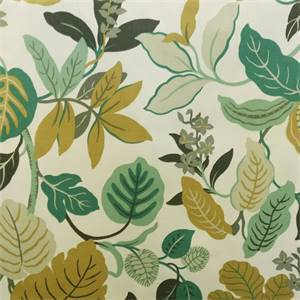 Wildflower Teal Green Floral Cotton Drapery Fabric By Braemore