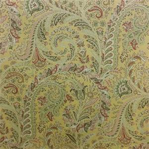 Betty Merigold Gold Paisley Floral Cotton Drapery Fabric