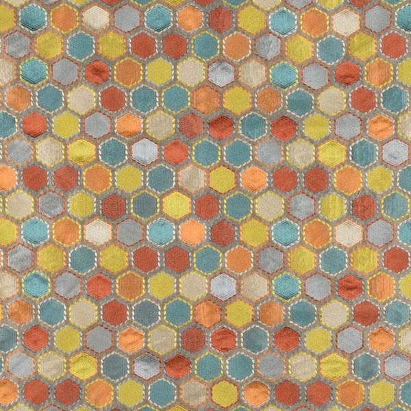 Gem Market Henna Multi Geometric Embroidered Faux Silk Drapery