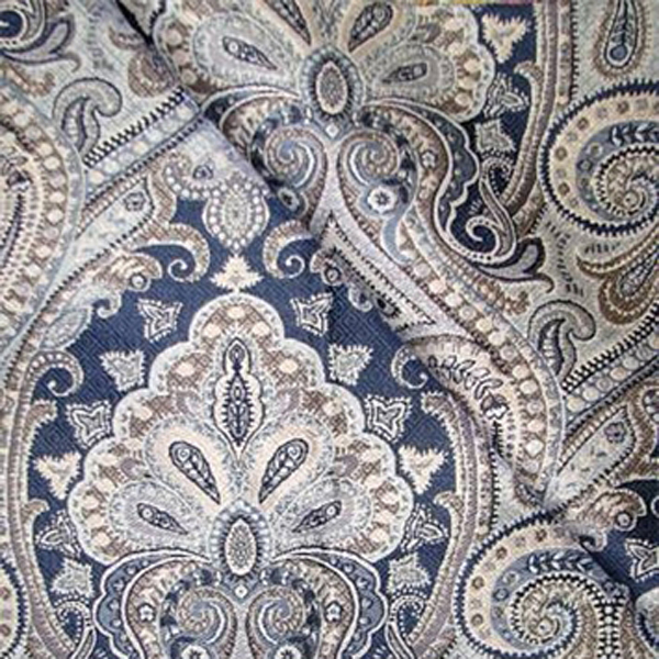 Equestrian Delft Blue Floral Upholstery Fabric by Richloom Platinum ...