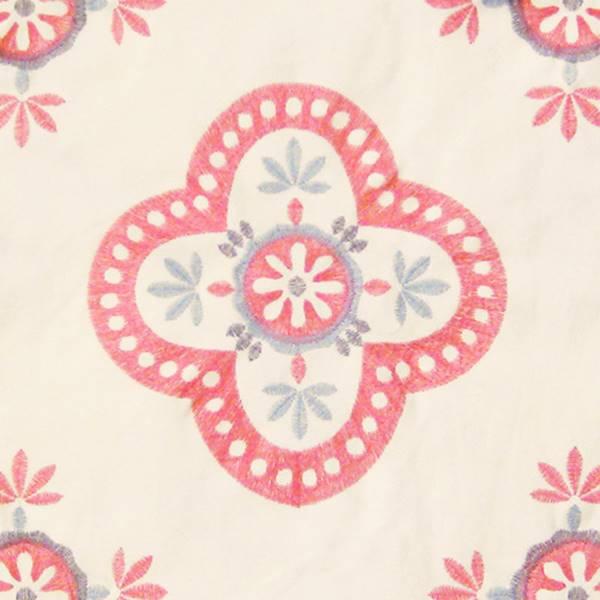 Viola azalea pink embroidered floral drapery fabric