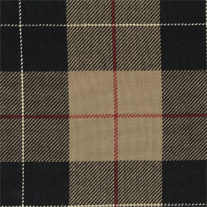 D 3049 Hempstead Night Black Tan Plaid Cotton Upholstery