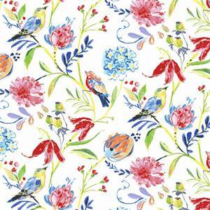 Honolulu Rainbow Linen Blend Floral and Bird Drapery Fabric