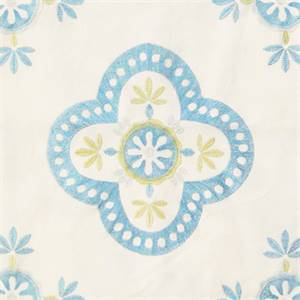Viola Embroidered Aqua Blue Floral Drapery Fabric