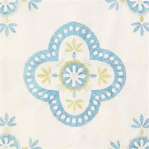 Viola Embroidered Aqua Blue Floral Drapery Fabric