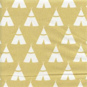 Tee Pee Saffron Cotton Novelty Drapery Fabric by Premier Prints 30 Yard Bolt
