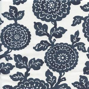Mums Premier Navy White Cotton Floral Drapery Fabric by Premier Prints 30 Yard Bolt