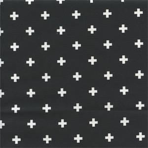 Mini Swiss Cross Black Cotton Contemporary Drapery Fabric by Premier Prints 30 Yard Bolt