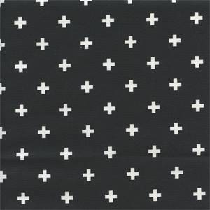 Mini Swiss Cross Black Cotton Contemporary Drapery Fabric by Premier Prints  30 Yard Bolt