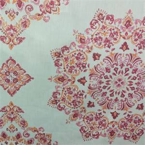 Mosaic Fuchsia Pink Floral Linen Drapery Fabric