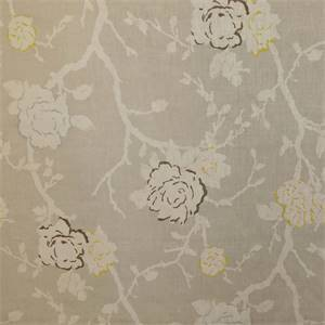 Vintage Rose Grey Floral Linen Drapery Fabric