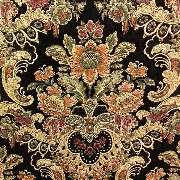 Uffizi Palace Jet Black Tapestry Upholstery Fabric By