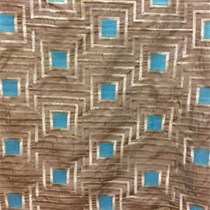 Timesquare Coffee Brown Embroidered Geometric Faux Silk Drapery Fabric