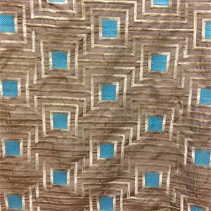 Timesquare Coffee Brown Embroidered Geometric Faux Silk Drapery Fabric