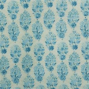 Petite Batik Porcelain Blue Floral Cotton Drapery Fabric