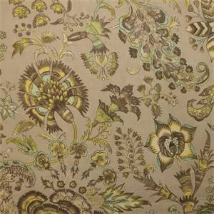 Grand Palampore Shade Gray Floral Drapery Fabric