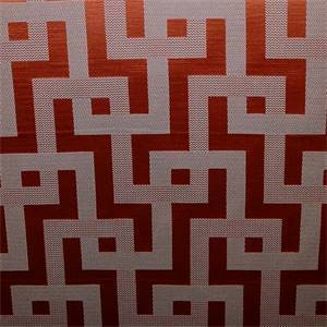 Puzzled Persimmon Orange Geometric Design Drapery Fabric