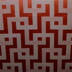 Puzzled Persimmon Orange Geometric Design Drapery Fabric