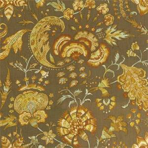 Grand Palampore Cocoa Brown Floral Line Drapery Fabric