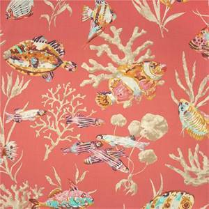 Fishermans Find Red Snapper Aquatic Drapery Fabric