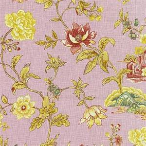 Pondicherry Prune Lavender Floral Linen Drapery Fabric