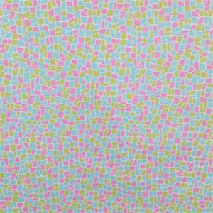 Mosaic Flamingo Pink  Cracked Tile Cotton Drapery Fabric