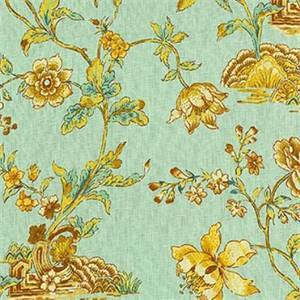 Pondicherry Moonstone Green Gold Floral Linen Drapery Fabric