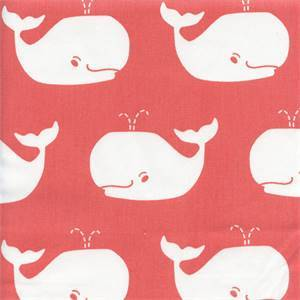 Whale Tales Coral White Cotton Drapery Fabric by Premier Prints