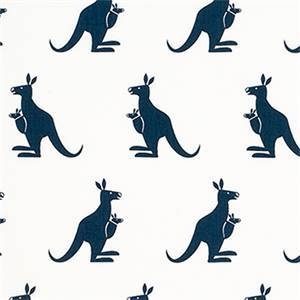 Kangaroo White Premier Navy Blue  Cotton Twill Drapery Fabric by Premier Prints