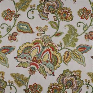 Valerian Century Jasmine Green Floral Drapery Fabric By Swavelle