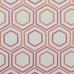 Sew Be It Persimmon Orange Embroidered Geometric Drapery Fabric