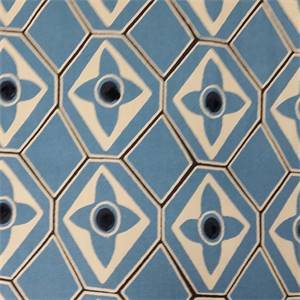 Carcassonne Lake Blue Geometric Embroidered Dot Cotton Drapery Fabric by Swavelle Mill Creek