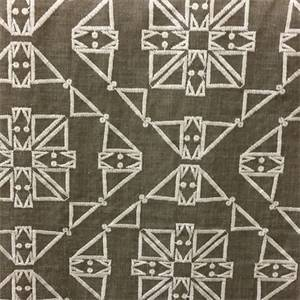 San Lucia Mineral Grey Embroidered Geometric Drapery Fabric by Swavelle Mill Creek