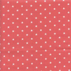 Mini Star Coral Pink White Cotton Drapery Fabric by Premier Prints 30 Yard Bolt
