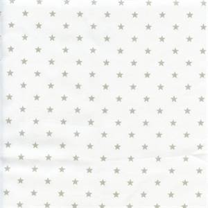 Mini Star White French Gray Twill Cotton Drapery Fabric by Premier Prints 30 Yard Bolt