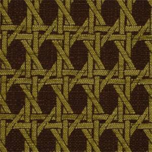 Island Rattan Seagrass Green Brown Oriental Geometric Design Upholstery Fabric by P Kaufmann