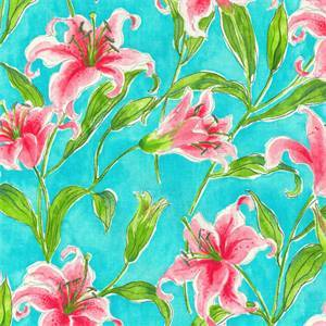 Monets Lily Turquoise Blue Floral Cotton Drapery Fabric by P Kaufmann