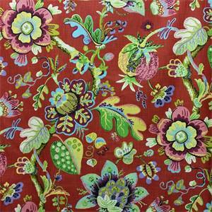Wonderland Ruby Red Pod and Floral Cotton Drapery Fabric by P Kaufmann