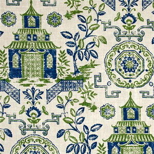 teahouse kelly green oriental floral toile cotton drapery fabric