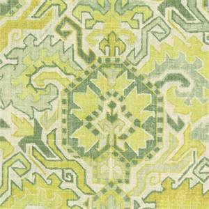 Madrid Sunrise Yellow Green Linen Blend Geometric Drapery Fabric