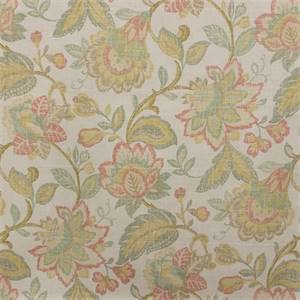 Castillo Persimmon Red Washed Look Floral Cotton Drapery Fabric