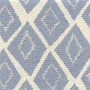 Belvoir Sky Blue Embroidered Diamond Herringbone Cotton Drapery Fabric by Swavelle Mill Creek Fabrics