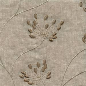 Blamont Flax Tan Embroidered Floral Drapery Fabric by Swavelle Mill Creek Fabrics