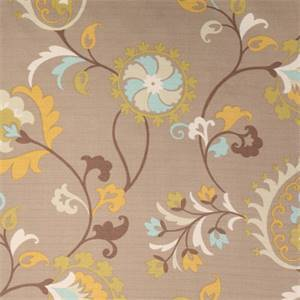 Loretto Madden Nile Brown Floral Drapery Fabric