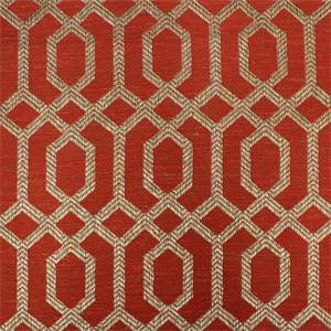 Parquet Melon Orange Geometric Upholstery Fabric