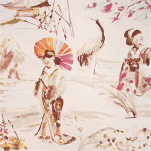 Miyako Ivory Oriental Toile Linen Blend Drapery Fabric
