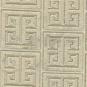 Caesar Stone Gray Gold Greek Key Cut Chenille Upholstery Fabric