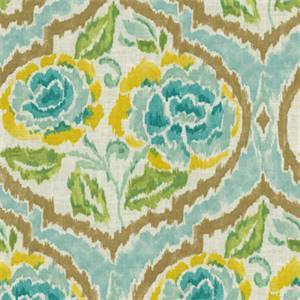 Nadia Green Tea Green Blue Floral Ikat Drapery Fabric by PK Lifestyles Fabrics