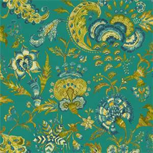 Grand Palampore Peacock Blue Floral Feather Linen Drapery Fabric by PK Lifestyles Fabrics